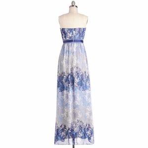 Blue Moonscape Melodies Maxi Dress, sz S, Modcloth